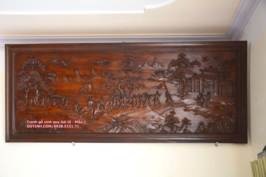 Giao lưu tranh gỗ vinh quy bái tổ_gỗ gụ, đục tay giá (8tr800)