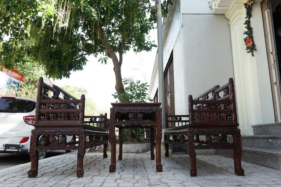 TK01:Bộ trường kỷ Huế vân khúc - Dựa trên mẫu cung đình Huế xưa- Đồ gỗ đẹp Dotinh.com