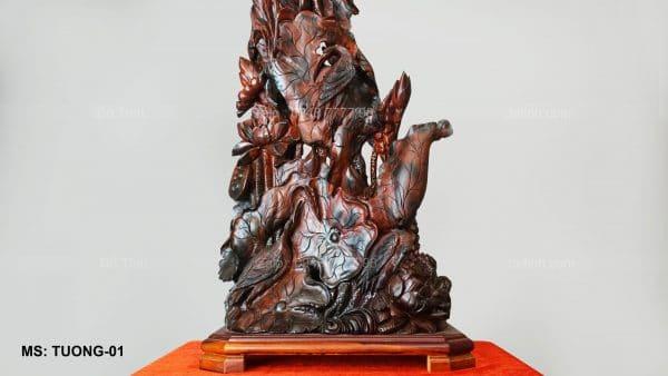 tượng gỗ sen hạc là tác phẩm do Dotinh.com sản xuất, nơi bán tượng gỗ, tượng gỗ đẹp