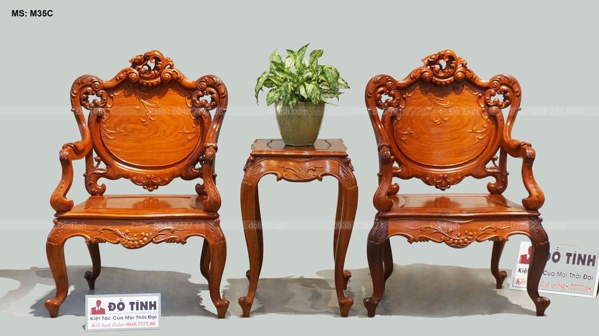 Bộ bàn ghế Louis hoàng gia gỗ hương Lào - decor sáng tạo