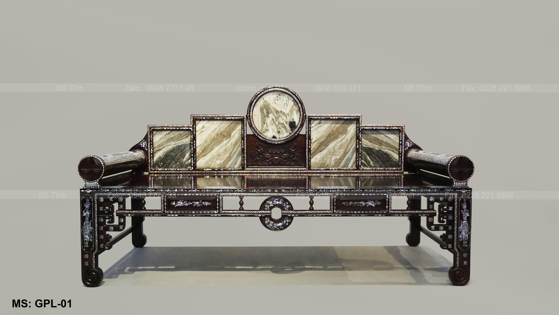 Vẻ đẹp sang trọng của giường phương lười gỗ cẩm lai khảm ốc