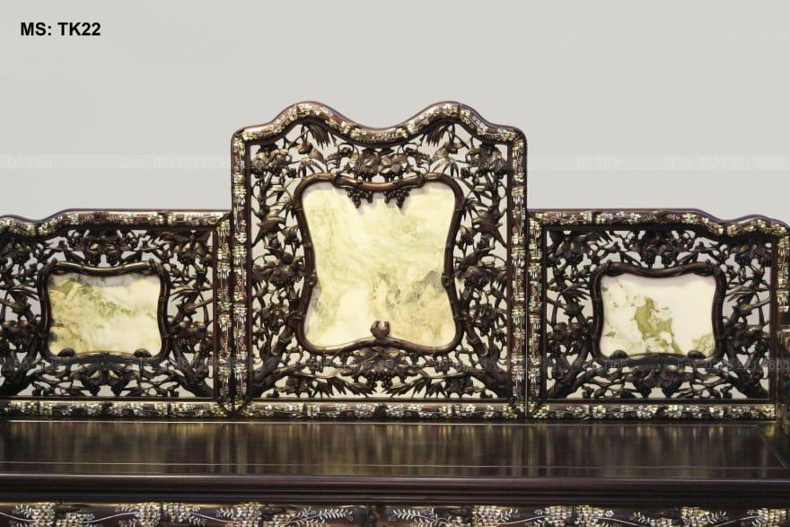 Tựa ghế đục cham hình ảnh trúc nho mềm mại, thanh thoát