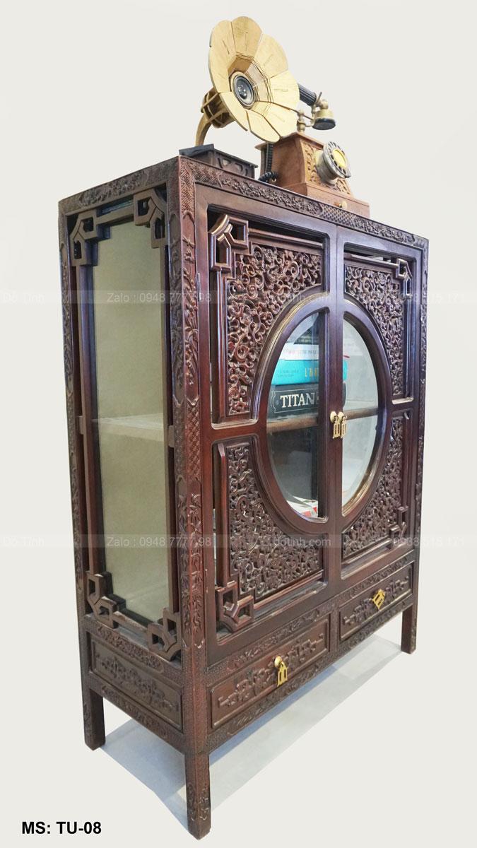 Tủ sách Huế cổ xưa - hông cạnh tủ được ốp kính dày dặn