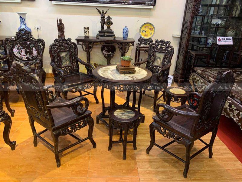 bộ bàn ghế trúc gỗ trắc